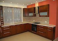 Кухня шпонирована цвета тёмная вишня, фото 1