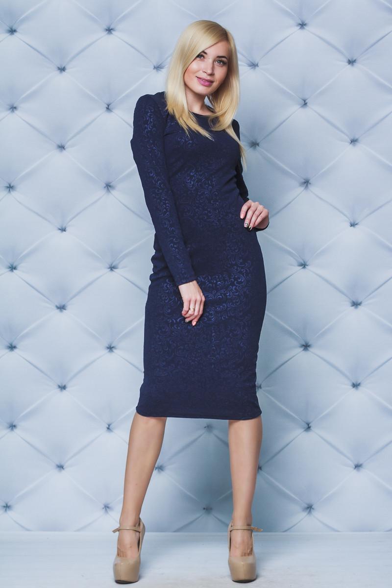 Платье женское футляр Узор темно-синее
