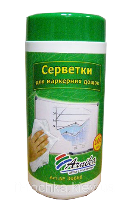 Серветки для маркерних дошок, вологі «Арніка 30668»