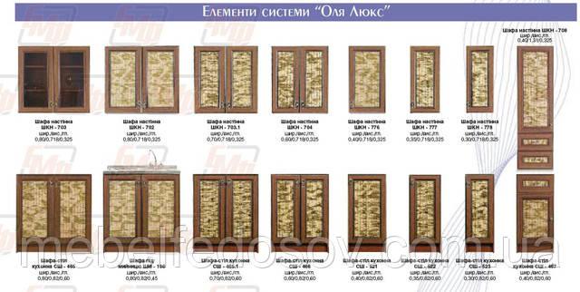 Кухня Оля люкс по элементам
