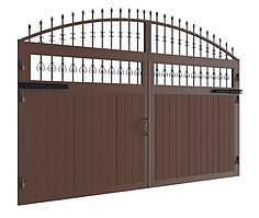 Распашные ворота DoorHan в алюминиевой раме с заполнением сэндвич-панелями SWG-A 2000x1800