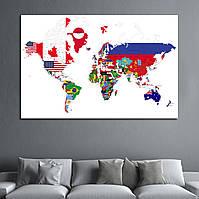 Картина -  Политическая карта мира с флагами стран, для декора офиса