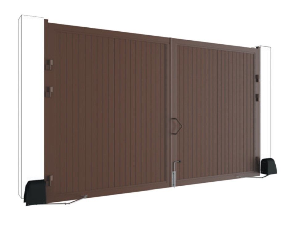 Распашные ворота DoorHan стандартных размеров в алюминиевой раме с заполнением сэндвич-панелями SWS, фото 1