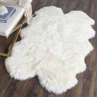 Коврик из 4-х декоративных овечьих шкур, белый цвет, размер 200х120