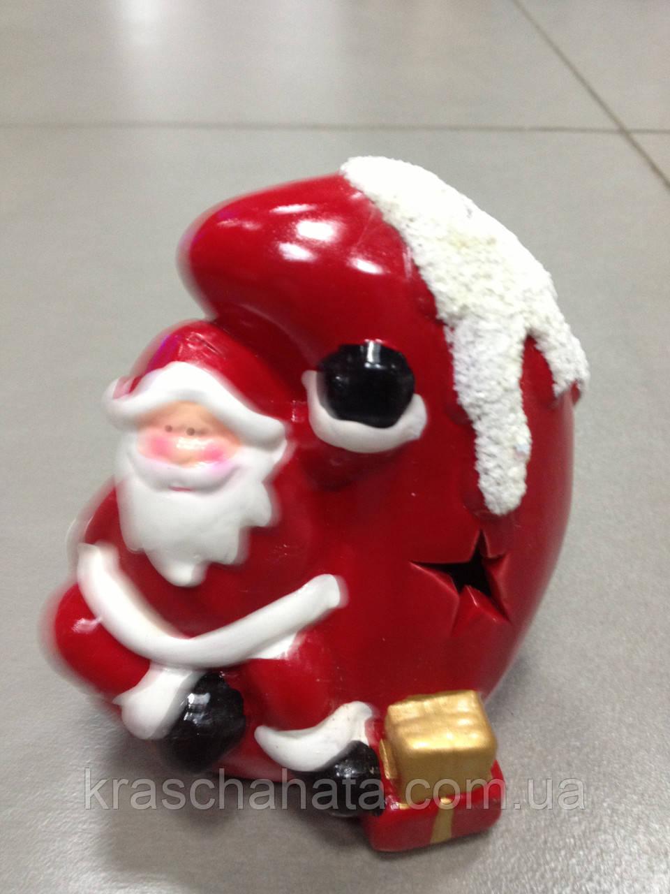 Дед Мороз на луне, сувенир новогодний,12Х8Х8 см, статуэтка, керамика, Днепропетровск
