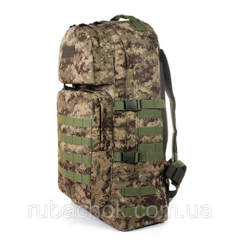 Тактический туристический крепкий рюкзак 60 литров пиксель