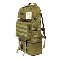 Тактический туристический крепкий рюкзак трансформер 40-60 литров олива, фото 1
