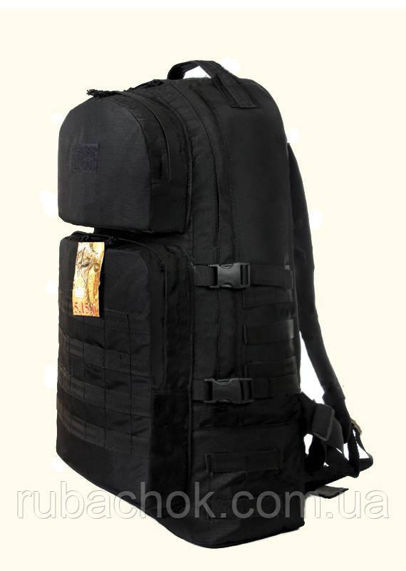 Тактический армейский туристический супер-крепкий рюкзак 60 литров чёрный