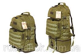 Тактичний туристичний супер-міцний рюкзак трансформер 40-60 літрів олива