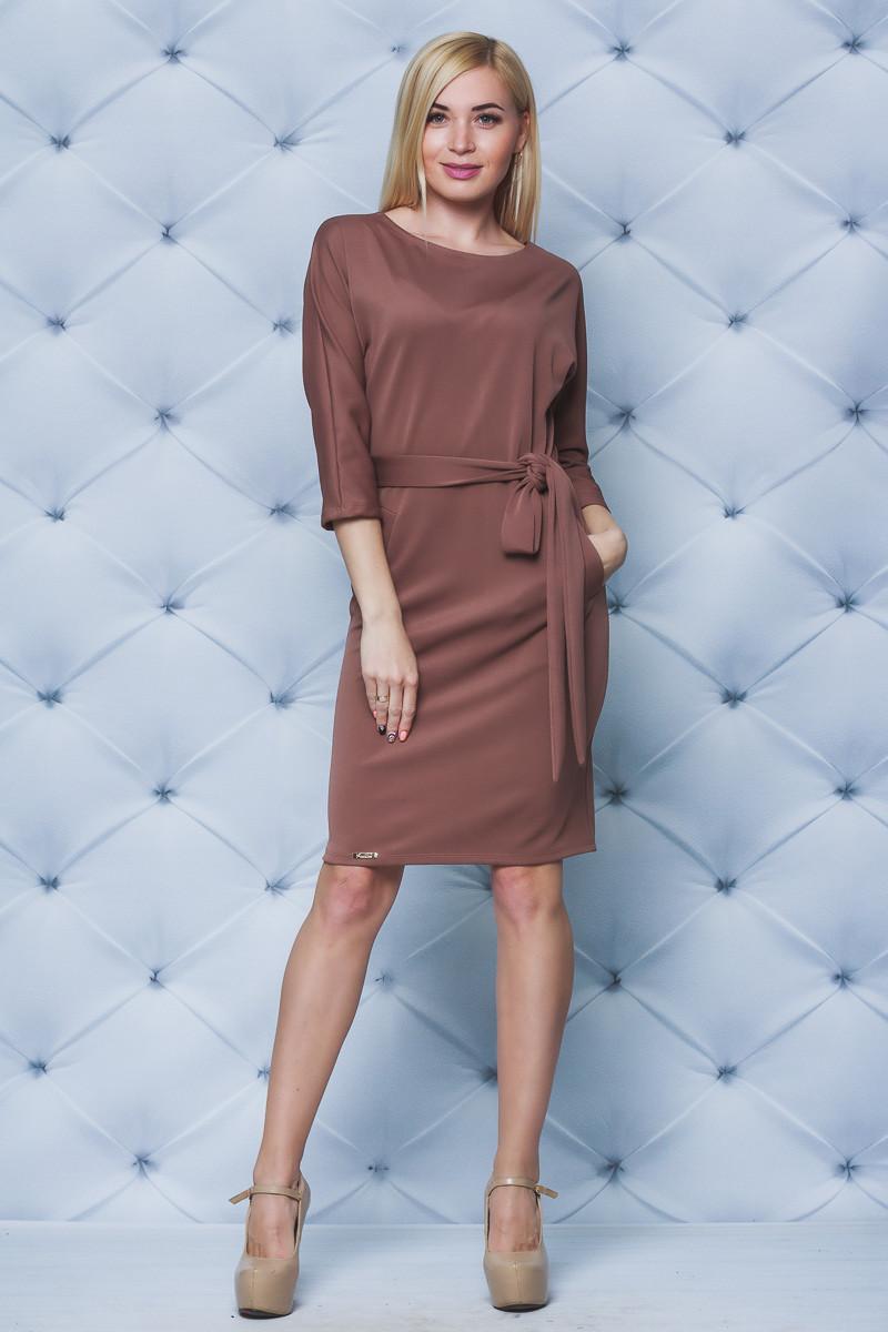 Платье женское с поясом кофе
