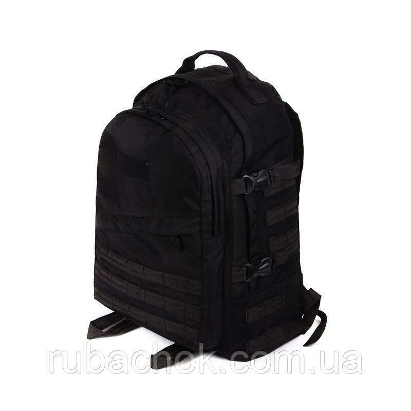 Тактический походный крепкий рюкзак c органайзером 40 литров чёрный