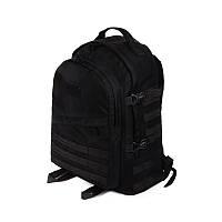 Тактичний похідний міцний рюкзак c органайзером 40 літрів чорний, фото 1