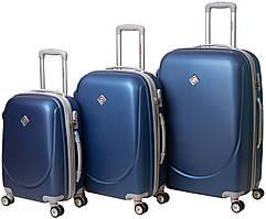 Набор чемоданов на колесах Bonro Smile с двойными колесами Синий 3 штуки