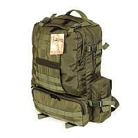 Тактический походный армейский супер-крепкий рюкзак 50 литров оливковый, фото 1