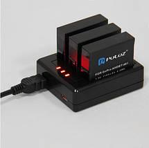 Комплект: Зарядное устройство для GoPro Hero 4 на три аккумулятора+ 2 аккумулятора  AHDBT-401 1160 mAh, фото 2