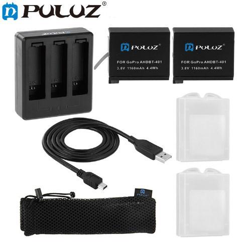 Комплект: Зарядное устройство для GoPro Hero 4 на три аккумулятора+ 2 аккумулятора  AHDBT-401 1160 mAh, фото 1