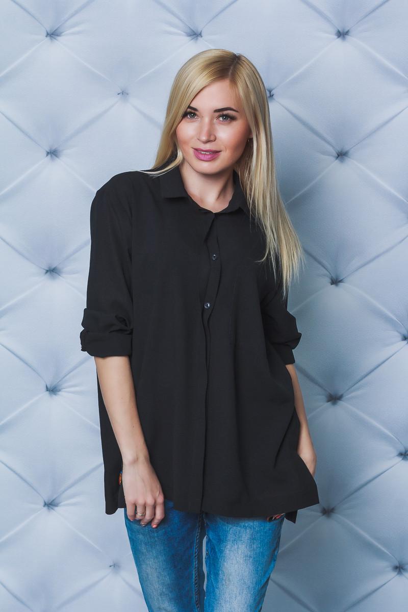 Блуза женская оверсайз черная