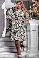 Модное платье с пышной юбкой рукав три четверти миди серое с цветами