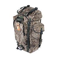 Туристический армейский супер-крепкий рюкзак на 75 литров пиксель с ортопедической пластиной., фото 1