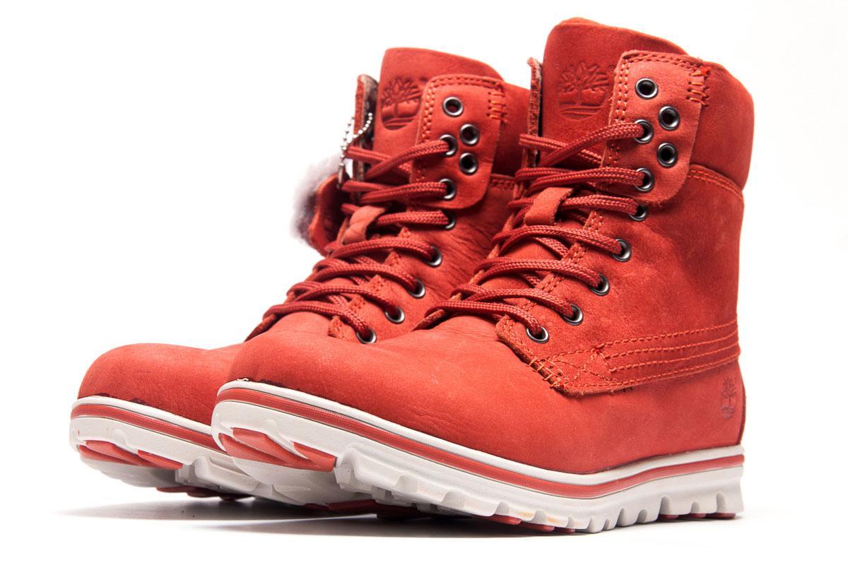 Зимние ботинки на меху Timberland, красные (3190-3),  [  37 (последняя
