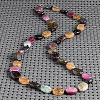 Турмалин разноцветный, бусы, 411БСТ