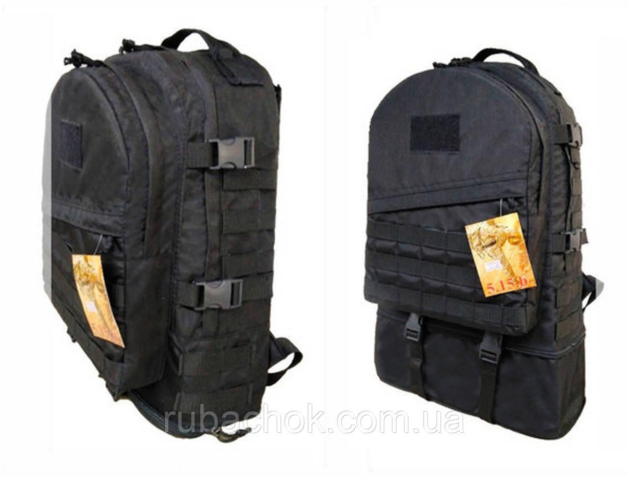 Тактический туристический супер-крепкий рюкзак трансформер 30-45 литров Черный