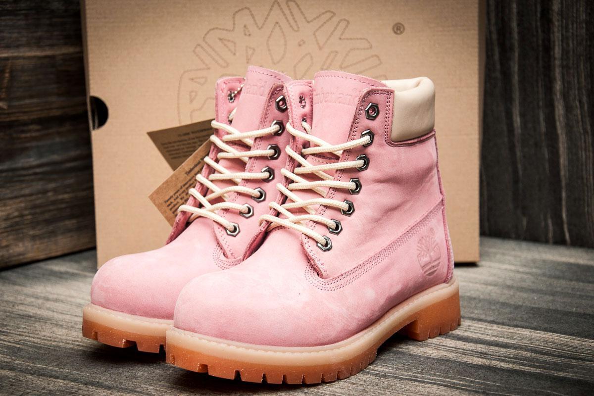 Зимние ботинки на меху Timberland 6 premium boot, розовые (3195-3),  [
