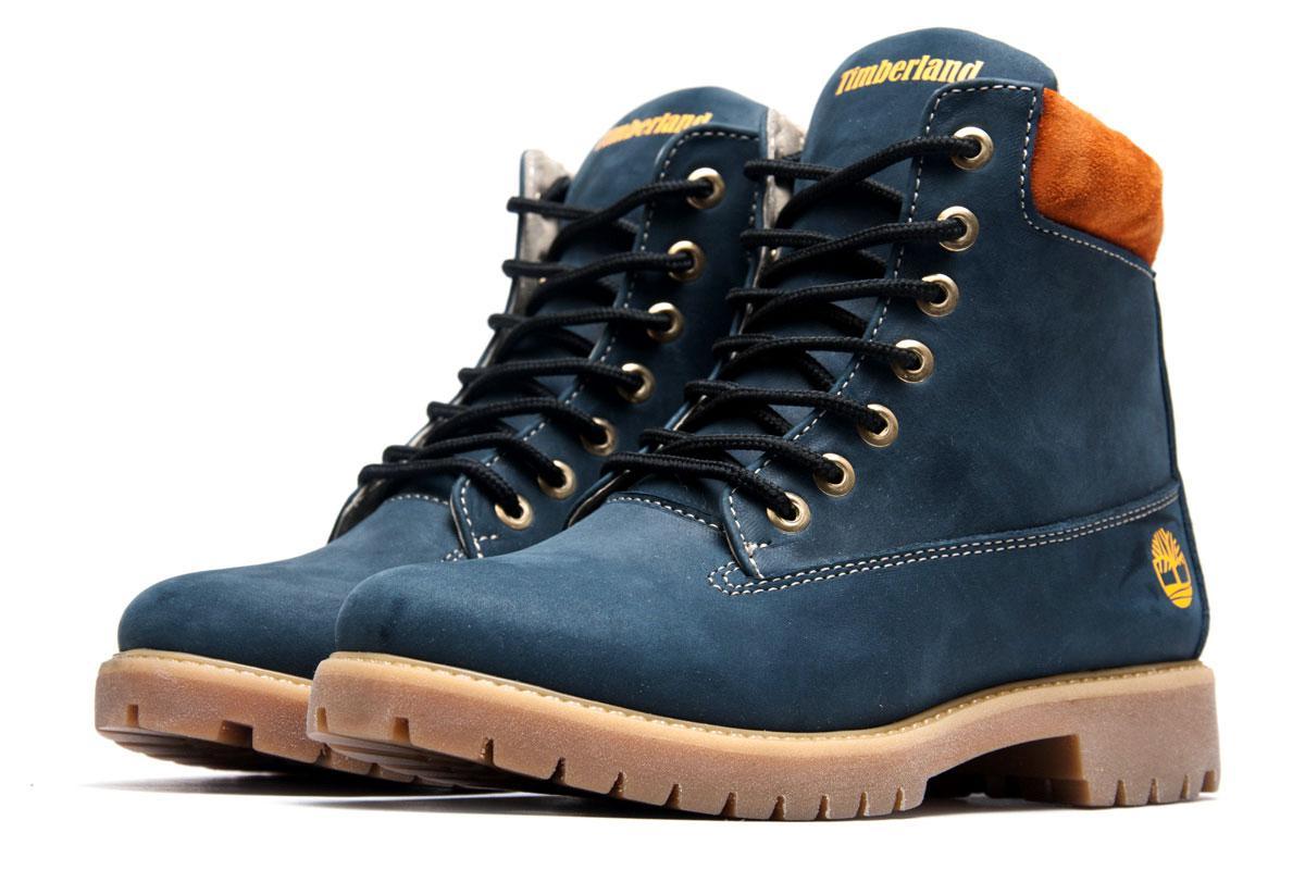 Ботинки женские Timberland 6 inch, темно-синие (3834-3),  [   36 37  ]