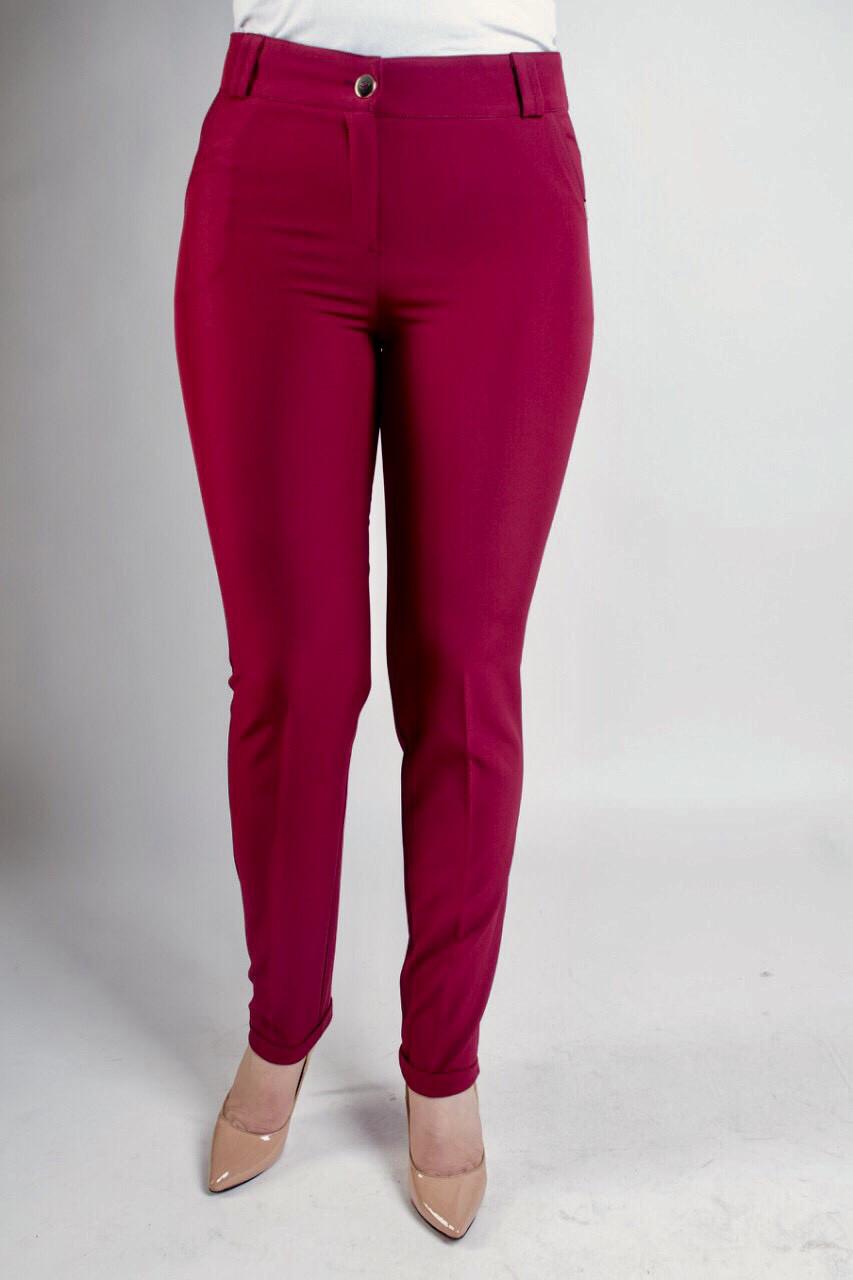 Зауженные женские брюки Адрианна бордового цвета