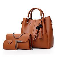 Набір жіночих сумок 3в1 з кісточками коричневий з якісної екошкіра опт, фото 1