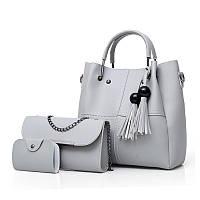 Набор женских сумок 3в1 с косточками серый из качественной экокожи опт, фото 1
