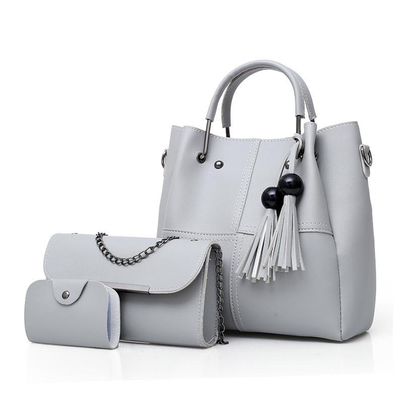 cfd769eb6678 Набор женских сумок 3в1 с косточками серый из качественной экокожи ...