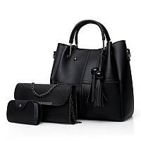 Набор женских сумок 3 в 1 с косточками из качественной экокожи, черный, фото 1
