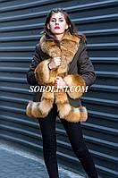 Куртка с мехом лисы на девочку, фото 1