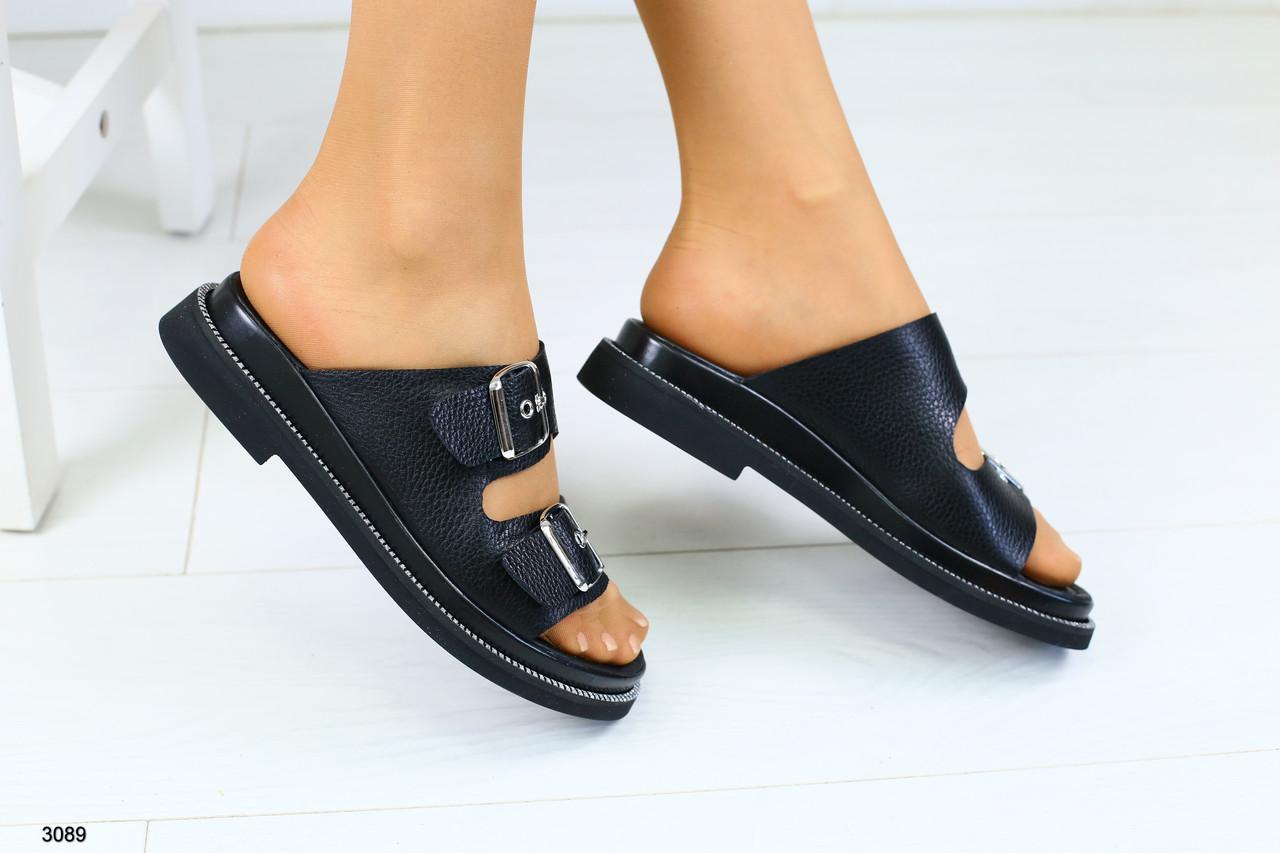 886347609570 Женские кожаные черные шлепанцы - Интернет-магазин обуви Vzuto.com.ua в  Чернигове