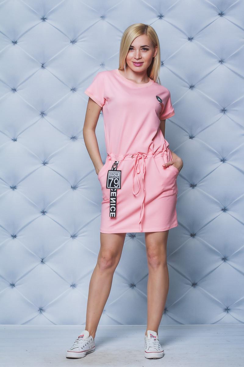 Платье женское трикотажное с нашивками персик