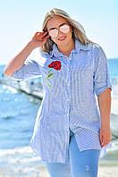 Рубашка-туника в полоску с розой