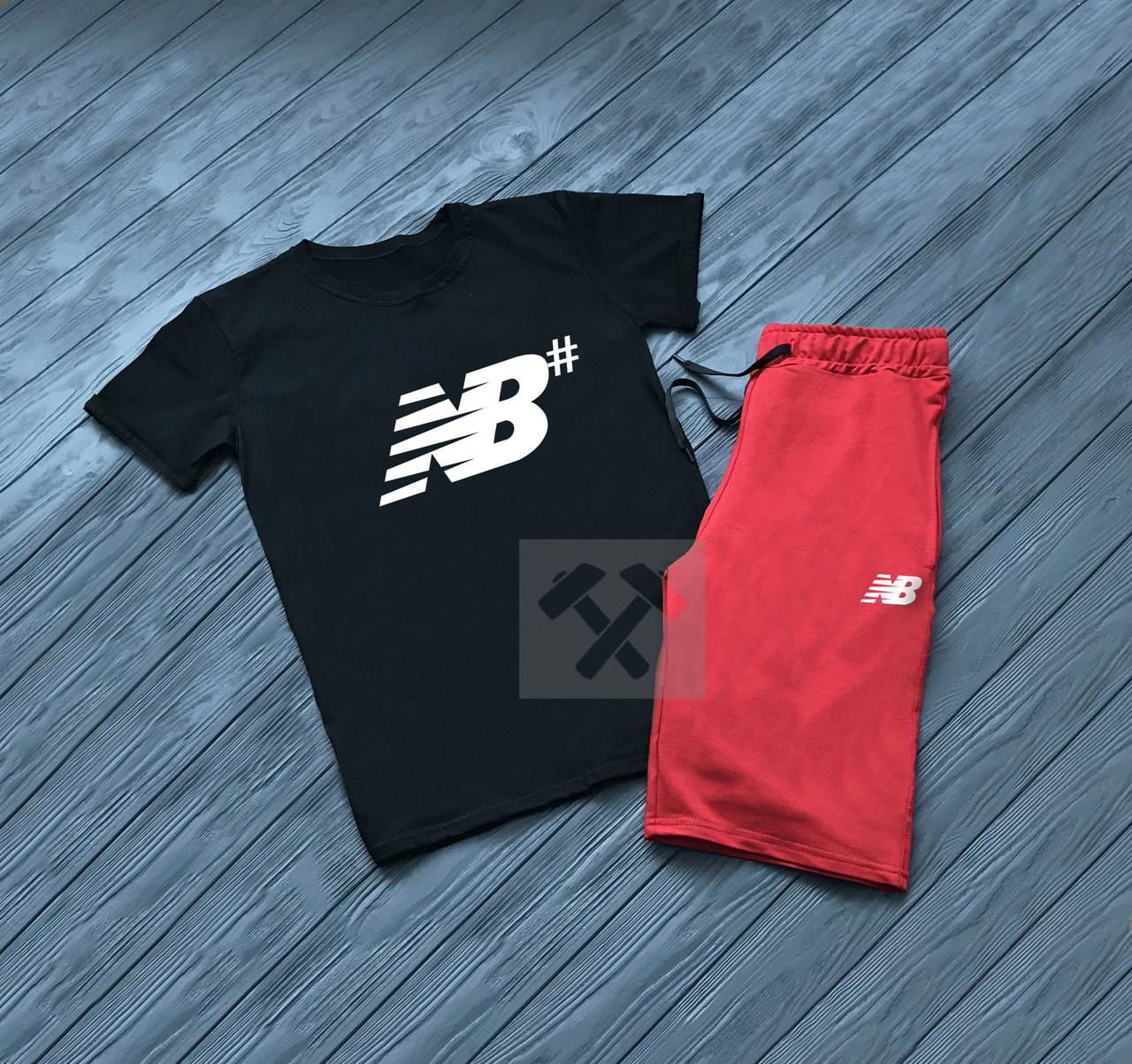 Мужской комплект футболка + шорты New Balance черного и красного цвета (люкс  копия) db48aa845b0