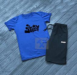 Мужской комплект футболка + шорты Stussy синего и черного цвета (люкс копия)