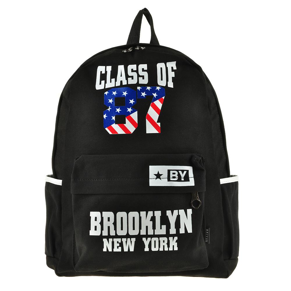Рюкзак молодёжный BAIYUN 30х43х12 чёрный, материал брезент