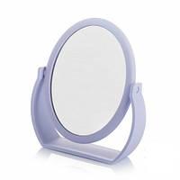 Сиреневое косметическое настольное-овальное зеркало.