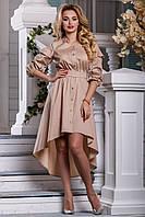 Летнее платье миди асимметрия рукав три четверти свободное под пояс светлый кофе