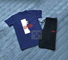 Мужской комплект футболка + шорты supreme синего и черного цвета (люкс копия)