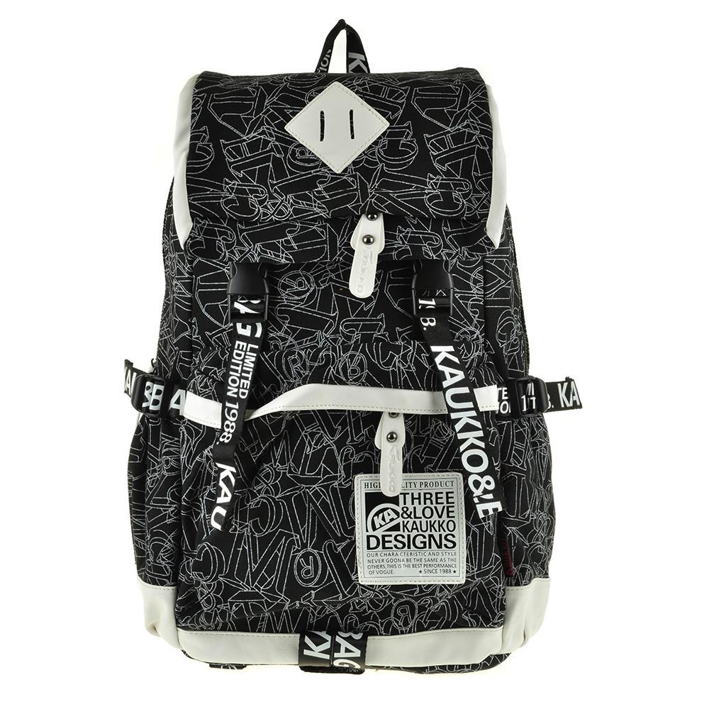 Рюкзак молодёжный KAUKO & BAG  30х44х16 чёрный, материал брезент