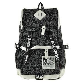 Рюкзак молодёжный KAUKO & BAG  30х44х16 чёрный, материал брезент, фото 2