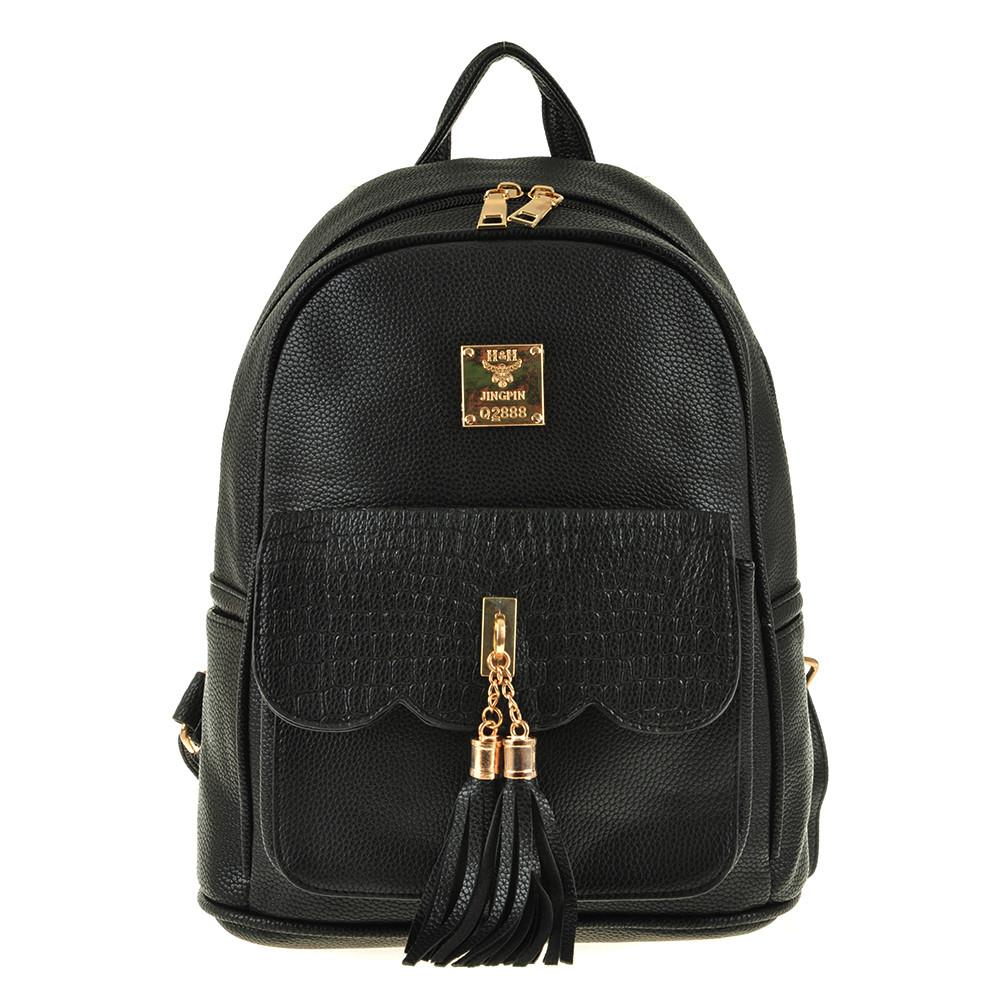 Рюкзак жіночий Jing Pin чорний, 25х30х16, екошкіра ксБГ799ч