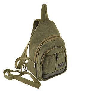 Рюкзак женский HYD 20х31х13 хаки, материал брезент, фото 2