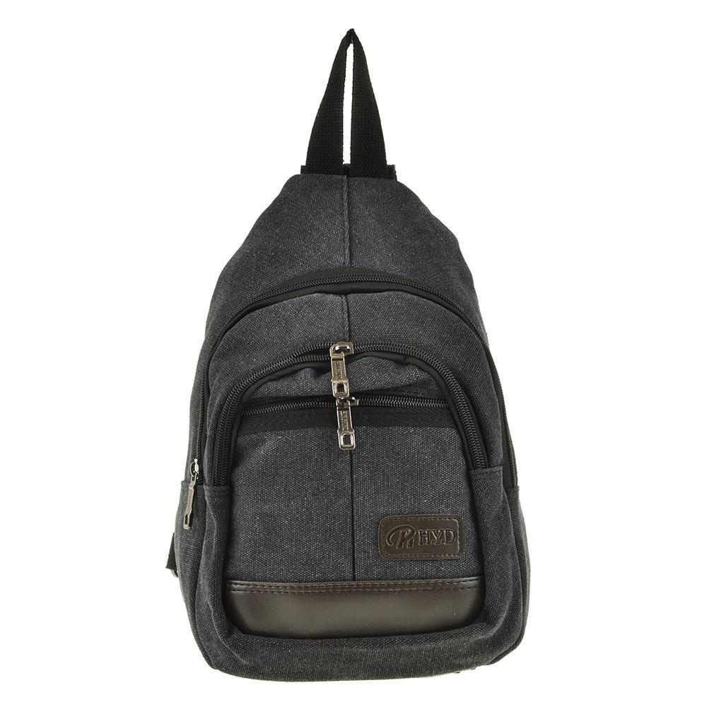Рюкзак  HYD 20х31х13 одна лямка, материал брезент, цвет черный   кс8133ч