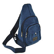 Рюкзак женский HYD 18х32х8 синий, материал брезент