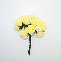 Розочка латексная жёлтая, букетик из 11 цветков, диаметр розы 15-20 мм, длина проволоки 7 см